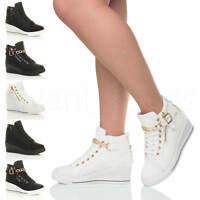 WOMENS LADIES MID HEEL WEDGE PLATFORM LACE UP HIGH TOP ANKLE TRAINERS BOOTS SIZE
