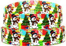 "Grosgrain Ribbon Ribbon 7/8"" & 1.5"" Christmas Tree Frosty Snowman Printed."