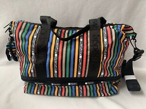 LeSportsac Dakota Medium Deluxe Weekender Bag Tote Carryon Varsity Stripes NWT