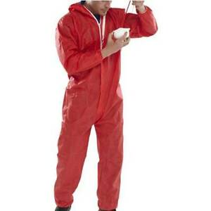 Disposable Red Coverall/Boilersuit/Overalls Suit, Size Medium