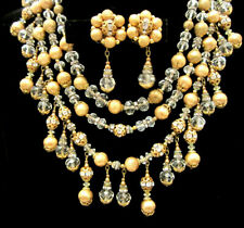 Rare Vintage Signed Miriam Haskell Brass Filigree Glass Bead Necklace & Earrings
