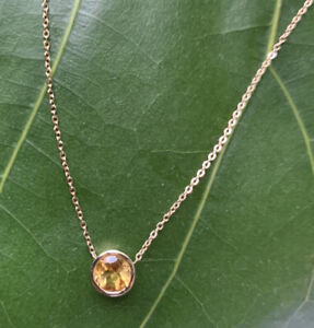 1 Carat Round Citrine Bezel Necklace Solitaire 14k Yellow Gold w/ 16 inch Cable