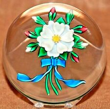 AMAZING Bobbi BANFORD Flower BOUQUET with Blue Ribbon Art Glass PAPERWEIGHT