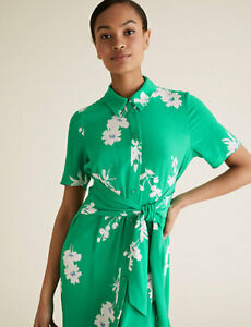 MARKS AND SPENCER FLORAL TIE FRONT MIDAXI SHIRT DRESS GREEN MIX COLOUR SIZE 18