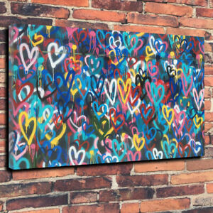 Banksy Love Hearts Graffiti Wall Art Printed Canvas Picture Multiple Sizes