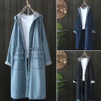 UK 8-24 Women Windbreaker Hooded Denim Jeans Tops Cardigan Long Coat Jacket Plus