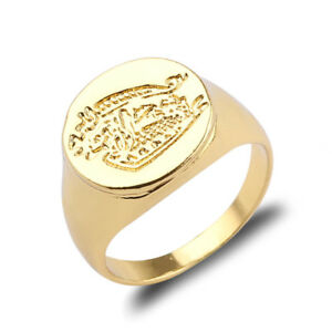 Kingsman:The Secret Service Brass Movie Signet Ring Gold Plated Rings Size 6-10
