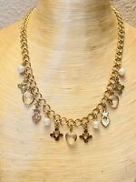 VTG Regal Charm Necklace Open Bezel Heart Star Crystal Lucite Gold Chain Pearl