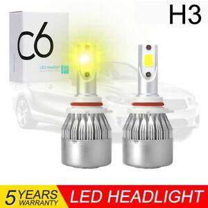 2PCS H3 LED Headlight Foglight Bulbs Kit 3000K Gold Yellow High Low Beam Light