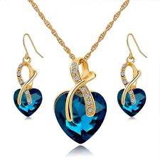 Gold Crystal Heart Pendant Necklace and Earring Set Women