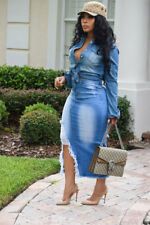 Women Ripped Jeans Hollow Out Casual Bodycon Club Party Tassel Slit Denim Dress