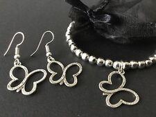 Silver Butterfly Jewellery Stretch Butterfly Bracelet And Butterfly Earrings