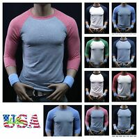 Men 3/4 Sleeve Baseball T-Shirt Tri- Blend Casual Slim Raglan Sports Crew Jersey
