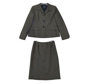 Evan-Picone Suit Womens Sz 14 Brown Shimmer 2 Pcs 3 Button Jacket Pencil Skirt