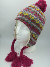 GIRLS GREY YELLOW HOT PINK ORANGE HEART BOBBLE FLYING HAT BNWOT 56CM 0269