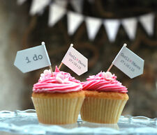 PERSONALISED WEDDING TOPPERS 18 RECEPTION CONTEMPORARY CUPCAKE FLAGS HANDMADE