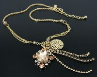 BELLE BY OASIS STATEMENT NECKLACE WITH GOLD TASSELLED CRYSTAL PENDANT WAS £16