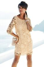 NEXT Cream Boho 3D Floral 3/4 Sleeve Summer Party Wedding Lace Dress Size 12