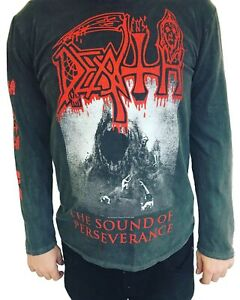 Death 'The Sound Of Perseverance' Black Vintage Wash Long Sleeve T shirt - NEW