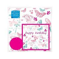 2 Feuilles de Rose Papillon Anniversaire Cadeau Emballage Papier Carte & 2 Tags