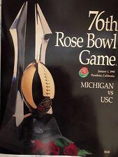 Usc Vs Michigan Ncaa 76th Rose Bowl Game 1990 Collectible Game Program Trojans