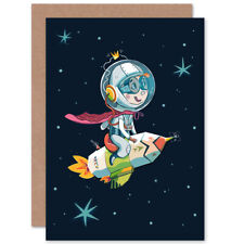 Super Astronaut Kid Blank Greeting Card With Envelope