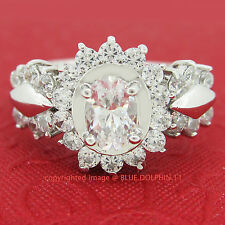 Genuine Real Solid 9k White Gold Engagement Wedding Dress Ring Simulated Diamond