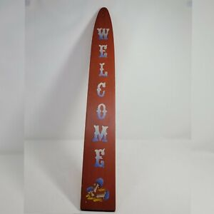WELCOME Sign Mushroom country solid wood 26x3.5 home decor Cottagecore farm