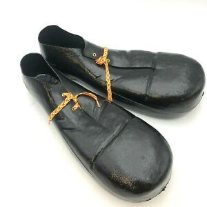 "Vintage Clown Shoes Plastic Rubies Halloween Costume Adult Men's Black Jumbo 16"""