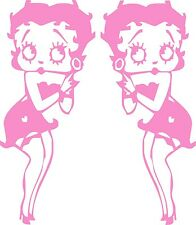 "Betty Boop  x 2 Decals / Stickers 150mm / 6"" HOT PINK"