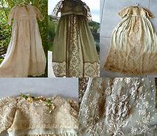 Magnifique ancienne robe longue 1920 tulle brodé main pour poupée JUMEAU etc.