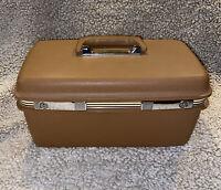 VINTAGE TRAIN MAKEUP CASE SAMSONITE CONCORD LUGGAGE BROWN TRAVEL TOILETRY Deco