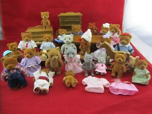 Lot of Teddy Bear Story- Flocked Bears & Furniture - 1980's Applause