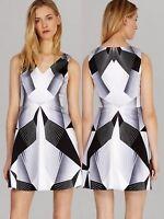 KAREN MILLEN Deco Graphic Print Dress Size 10, 12 UK Grey White Black EU 38 40