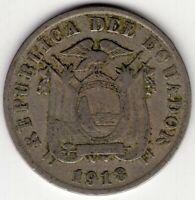 1918 ECUADOR 5 FIVE CINCO CENTAVOS KEY DATE LOW MINTAGE  NICE WORLD COIN