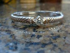 Custom Made 1.25 ct DIAMOND Cable Style Solitaire Bangle Bracelet 14K WG&YG New