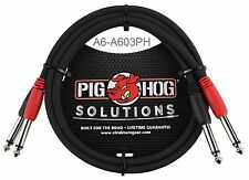 "3ft Dual 1/4"" TS Mono Male/Male Plug Noise Free Pig-Hog Audio Cable, A6-A603PH"