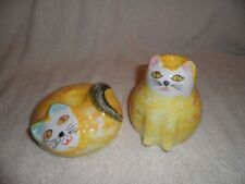 set of 2 porcelain yellow cat candle holders Pier1 made in Italy