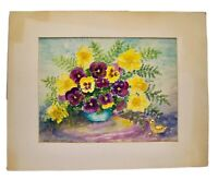 MidCentury Watercolor Pansies Painting Floral Beulah H. Brown Impressionist