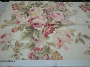 """LARGE REMNANT COTTON DECORATOR FABRIC  PINK & GREEN MUTED ROSES CREAM 25 X 71"""""""