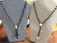 Cross Necklace Black Lucite beads pick 1