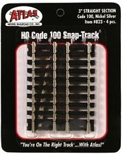 """Atlas #823  3"""" Straight Track 4 Sections HO Scale Code 100 Nickel Silver Rails"""