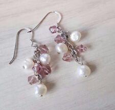 925 Sterling Silver Freshwater pearl earrings with amethyst
