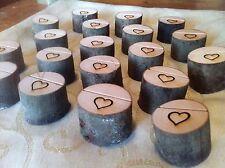50x Mini Log Engraved Heart Rustic Chic Card Holder Wood Wedding Quality Uk