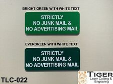 STRICTLY NO JUNK MAIL & NO ADVERTISING MAIL - EVERGREEN/WHITE - 10CM X 4.5CM
