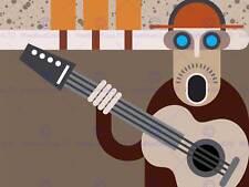 Peinture illustration abstrait musique guitare player art print poster MP5089B