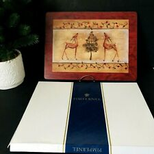 Rare PIMPERNEL Christmas Placemats Reindeer Tree Lights ENGLAND Box Set of 4 EUC