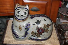 Large Terracotta Folk Art Painted Cat Colorful Birds Flowers Country Decor