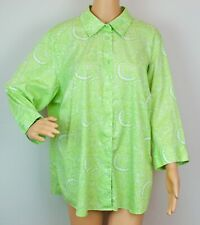 Foxcroft Wrinkle Free Blouse Top Shirt Size 18W Green Paisley Print Shaped Fit