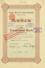 Letzte Rommel, Weiss & Cie Köln - Mülheim histor. Gründeraktie 1898 Textil Zelt